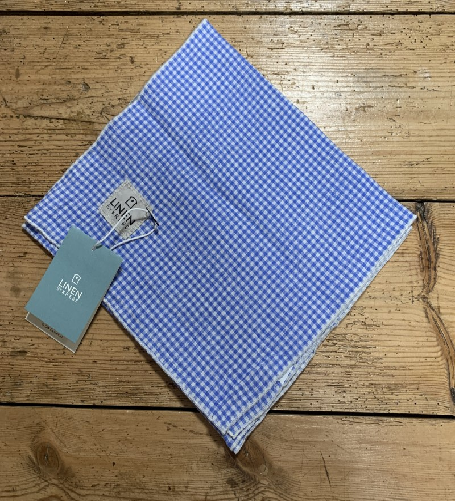 Linen by Krebs - lille tørklæde - lysblå tern