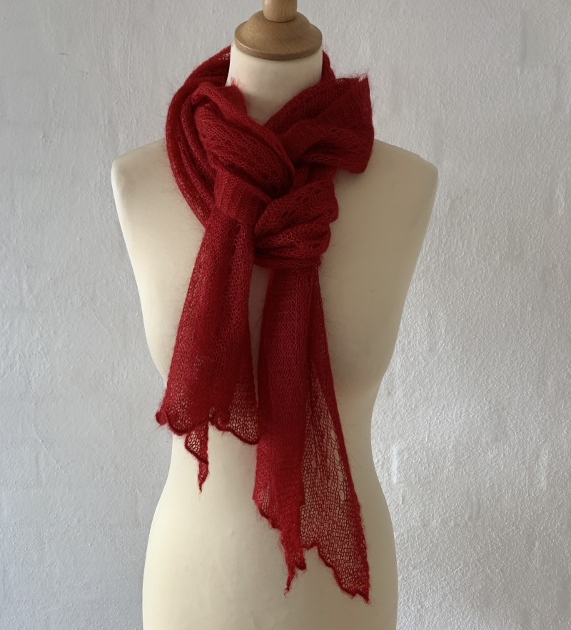 Corrymoor mohair/silke tørklæde berry