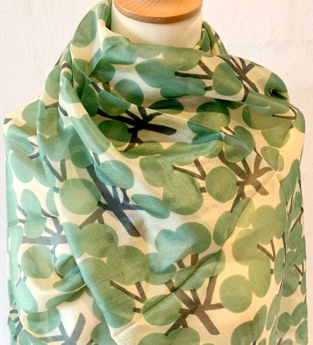 Aperitif Sjaler cotton grøn silke tørklæde-01