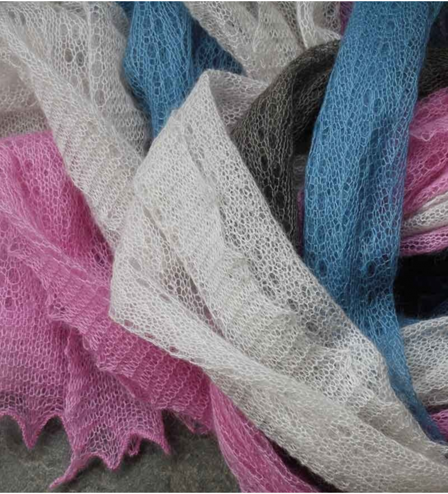 Corrymoor silke og mohair tørklæde