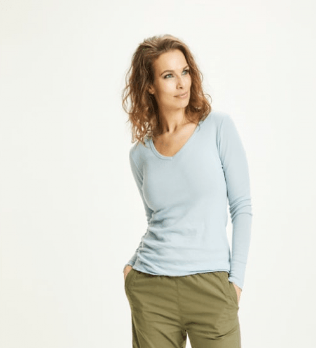Blusbar 4045 - uld bluse med V-hals - blue mist