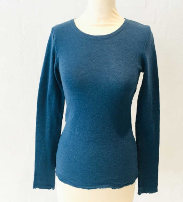 Blusbar 4002 uld bluse denim blå-01