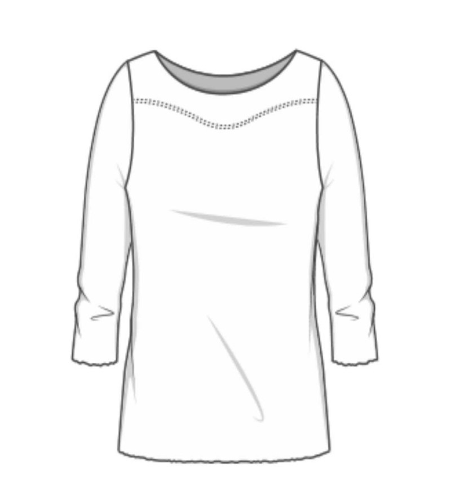 Blusbar 4041 - uld bluse - rød strib