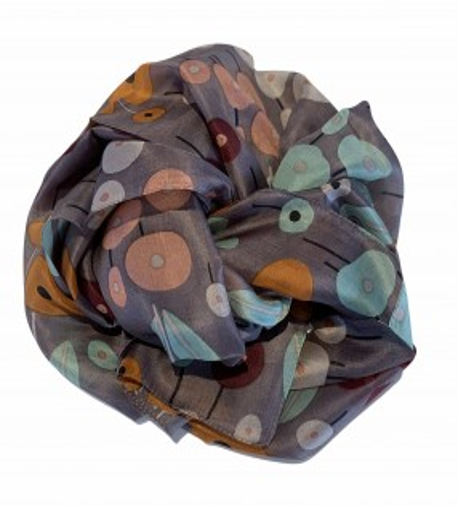 Aperitif silketørklæde blomster nutmeg